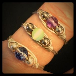 3 Stackable silver rings